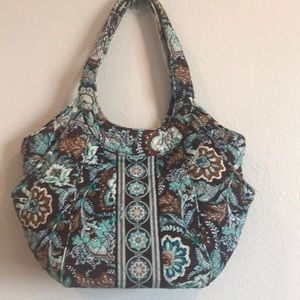 Vera Bradley Blue and Brown Tote bag, like new!